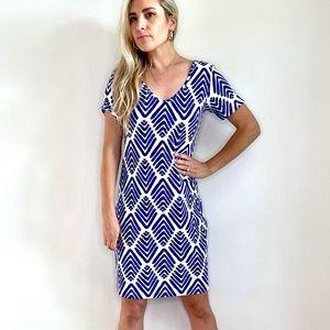 Persifor Blue & White Short Sleeve Dress Small